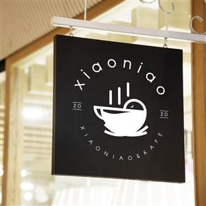 咖啡店店招指示牌贴图样机