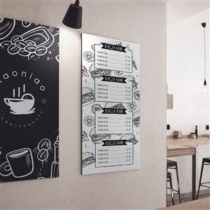 咖啡厅墙上菜单菜谱贴图样机