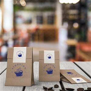 咖啡厅牛皮纸食品包装袋贴图样机