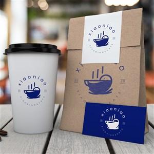 牛皮纸包装袋名片一次性咖啡杯贴图样机