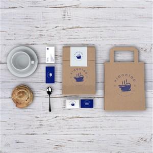 咖啡厅vi名片牛皮纸食品包装袋贴图样机
