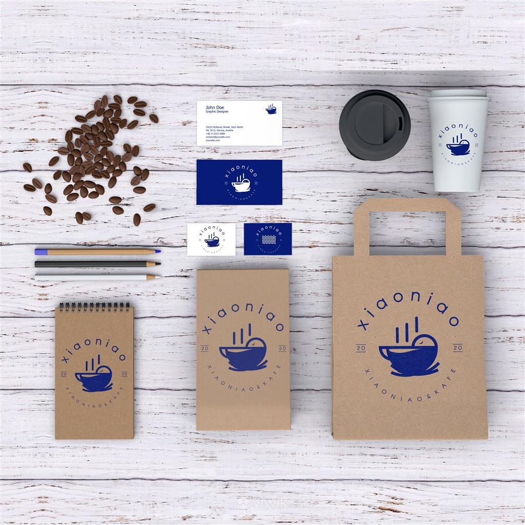咖啡厅蓝色简约vi牛皮纸包装袋名片咖啡杯笔记本贴图样机
