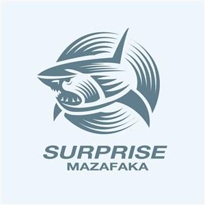 鲨鱼标志图标酒店旅游矢量素材