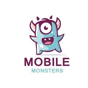 小怪兽标志图标服饰时尚矢量logo设计素材