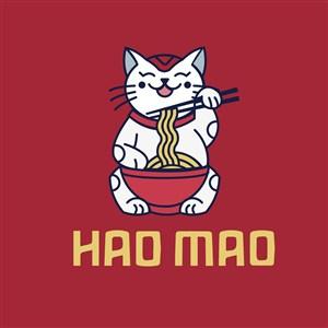抱着一碗面的猫标志图标餐饮食品logo矢量素材