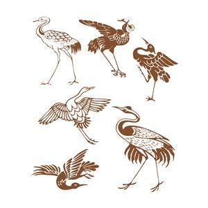 6种形态的中国风仙鹤吉祥鸟纹样矢量素材