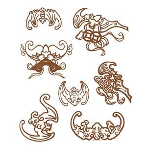 7种形态的传统中国风蝠纹吉祥纹样矢量素材
