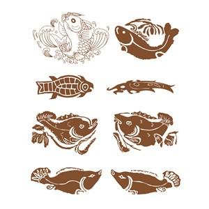 8种形态的中国风古典鱼纹样矢量素材