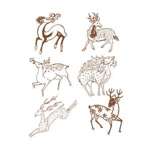 6种形态的鹿传统中国风吉祥纹样矢量素材