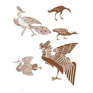 传统中国风吉祥鸟纹样矢量素材