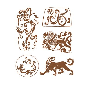 传统中国风神兽纹样矢量素材