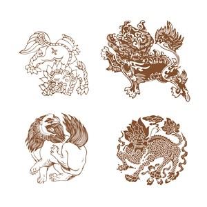 传统中国风神兽麒麟纹样矢量素材