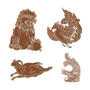 古典中式祥兽纹样矢量素材