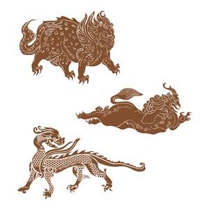 中国风古典神兽纹样矢量素材
