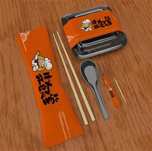 打包盒筷子牙签一次性餐具包装贴图样机