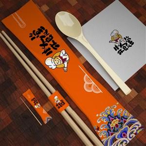 餐巾纸筷子牙签一次性餐具包装贴图样机