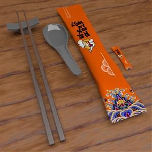 一次性餐具勺子筷子牙签包装贴图样机