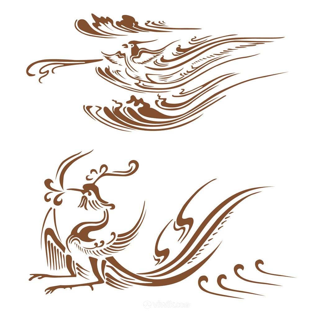 传统中国风古典纹样凤吉祥图案矢量素材