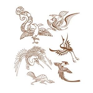 6种形态各异的传统中国风吉祥鸟纹样矢量素材