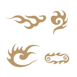 4种抽象火纹图案矢量素材