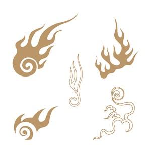 5种抽象火焰图案火纹矢量素材
