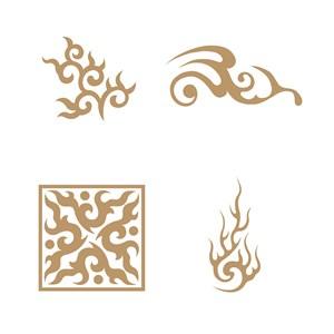 矢量抽象中国风火纹图案素材