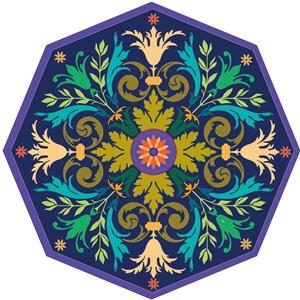 八边形中世纪维多利亚矢量花纹素材