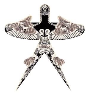 国画工笔画勾勒燕子风筝纸鸢传统文化图片