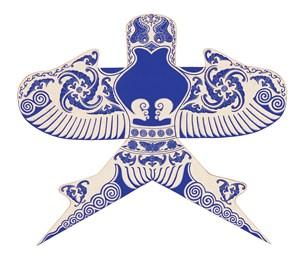 蓝色燕子蝙蝠福气风筝纸鸢民俗节日图片