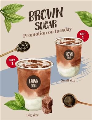 珍珠奶茶美食广告海报模板