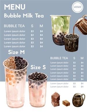 淡蓝色珍珠奶茶菜单设计模板