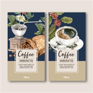 深蓝咖啡名片菜单设计模板素材