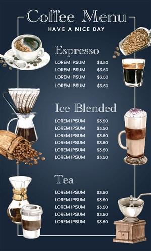 高档咖啡厅菜单设计模板素材