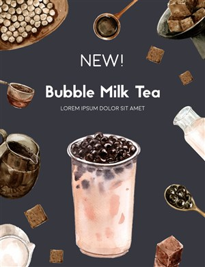 牛奶珍珠奶茶果汁美食海报模板