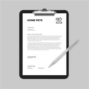 宠物店A4文档夹板贴图样机