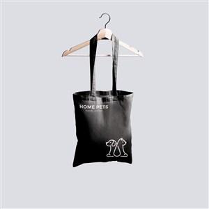 宠物店黑色环保袋手提袋贴图样机