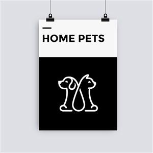 宠物店宣传单海报贴图样机