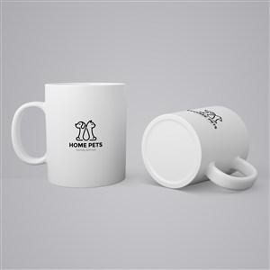 宠物店咖啡杯陶瓷水杯贴图样机