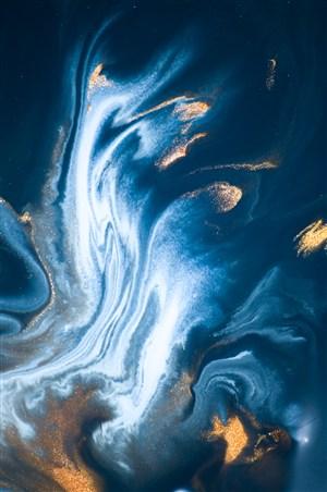 深色白色瀑布金箔蓝色系大理石背景图片
