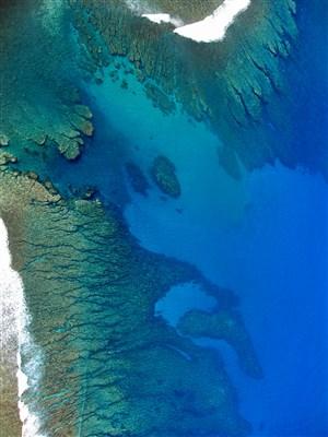 大海般的颜料蓝色系大理石背景图片