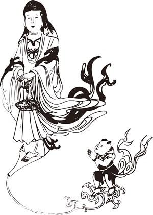 菩萨与红孩儿手绘线描108罗汉矢量PNG绘画图片