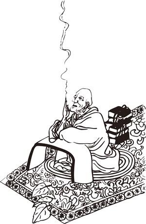 抽烟坐在地毯上的和尚手绘线描108罗汉矢量PNG绘画图片