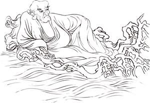 躺在树枝海上的僧人手绘线描108罗汉矢量绘画图片