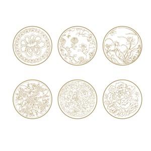6种花草植物纹样荷花花纹牡丹花纹矢量素材