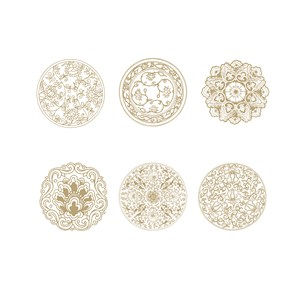 6种中式传统缠枝花纹吉祥花纹矢量素材