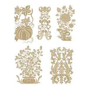 南瓜纹样蝠纹鱼纹吉祥图案传统中国风花草植物纹样矢量素材