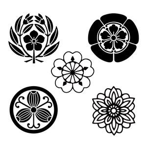 5种吉祥图案樱花图案矢量花朵素材