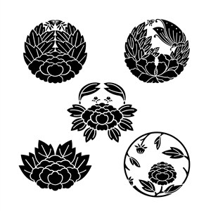 吉祥图案蝶恋花图案矢量花卉素材