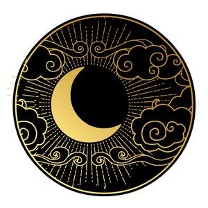 矢量中国风黑金月亮吉祥云素材