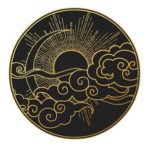 中国风黑金吉祥云图案矢量素材